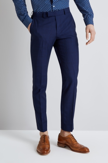 Moss London Skinny Fit Blue Check Trousers