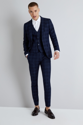 Moss London Skinny Fit Navy Ice Check Jacket