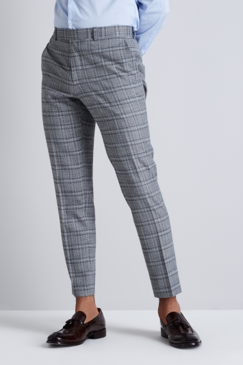 Moss London Black and White Twist Check Cropped Trousers