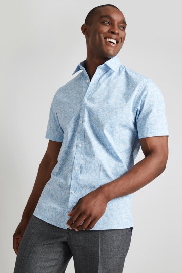 Moss Esq. Regular Fit Blue Short Sleeve Paisley Print Shirt