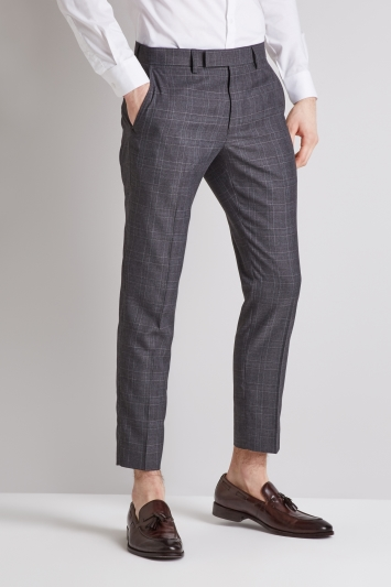 Moss London Slim Fit Charcoal with Pink Windowpane Check Cropped Trousers