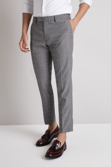 Moss London Skinny Fit Black and White with Red Check Cropped Trousers