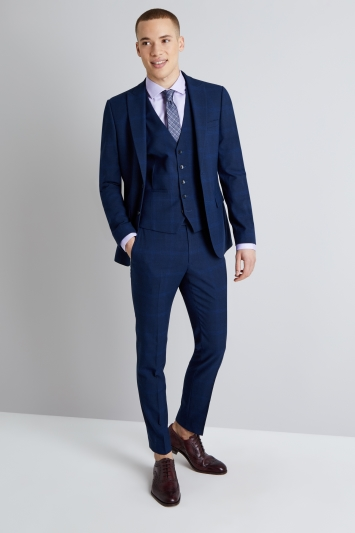 Moss London Skinny Fit Bold Blue Check Jacket