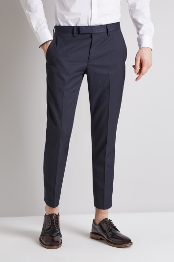 Moss London Slim Fit Navy Cropped Trousers