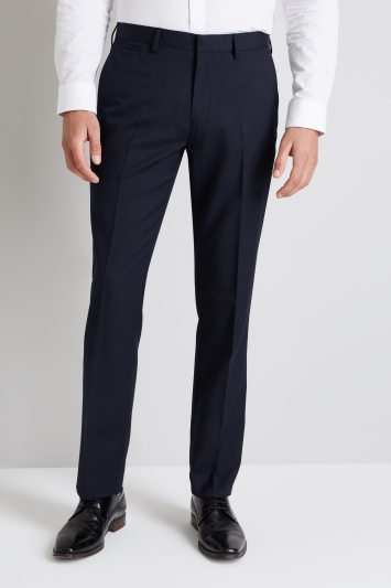 Moss 1851 Navy Wool Rich Machine Washable Trousers