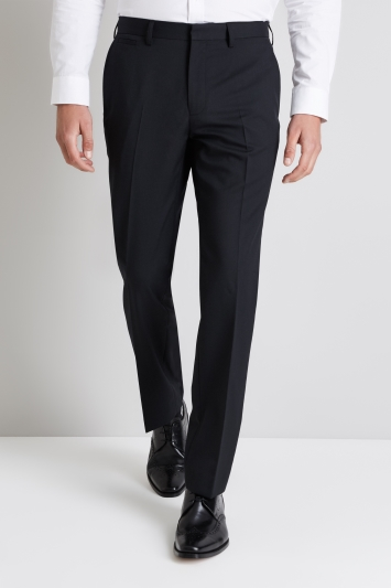 Moss 1851 Black Wool Rich Machine Washable Trousers