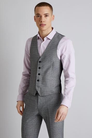 Moss London Skinny Fit Black and White Prince of Wales Check Waistcoat