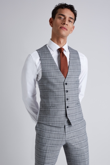 Moss London Skinny Fit Black and White Twist Check Waistcoat