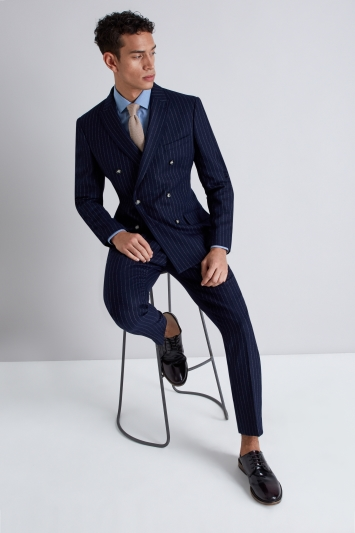 Moss London Skinny Fit Navy Crepe Stripe Double Breasted Jacket