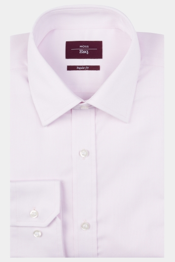 Moss Esq. Regular Fit Pink Single Cuff Textured Shirt