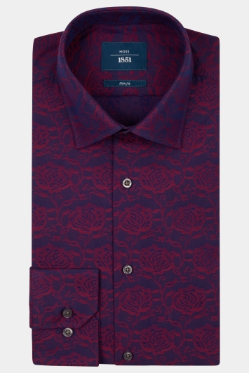 Moss 1851 Slim Fit Berry Single Cuff Floral Shirt