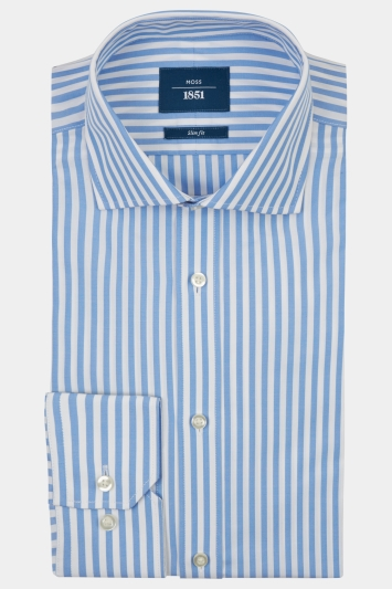 Moss 1851 Slim Fit Sky Single Cuff Bengal Stripe Shirt