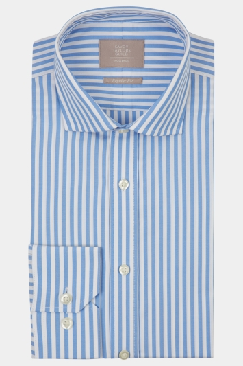 Savoy Taylors Guild Regular Fit Sky Single Cuff Bengal Stripe Shirt