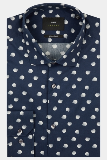 Moss London Extra Slim Fit Navy & Grey Single Cuff Spot Shirt