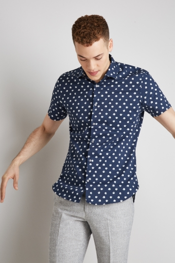 Moss London Extra Slim Fit Navy & Grey Short Sleeve Spot Shirt