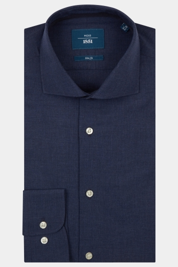 Moss 1851 Slim Fit Indigo Single Cuff Melange Shirt