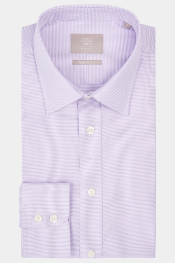 Savoy Taylors Guild Regular Fit Lilac Single Cuff Puppytooth Shirt