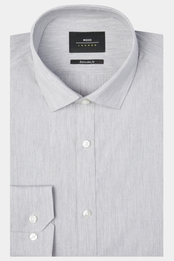 Moss London Extra Slim Fit Grey Single Cuff Melange Stretch Shirt