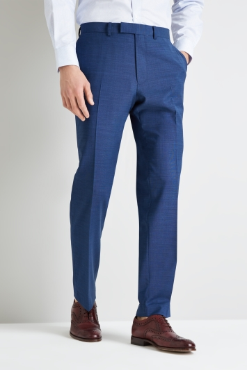 Moss Esq. Performance Regular Fit Blue Pindot Trouser