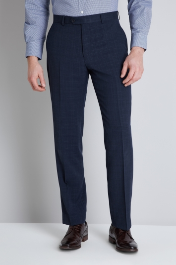 Moss Esq. Regular Fit Navy Check Trouser