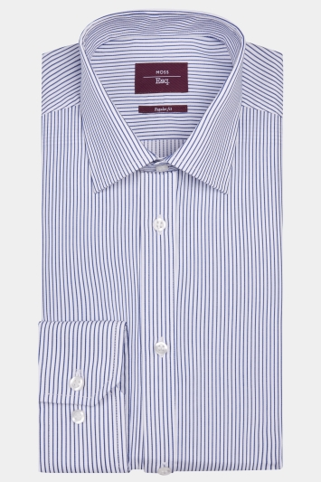 Moss Esq. Regular Fit Blue Single Cuff Stripe Shirt