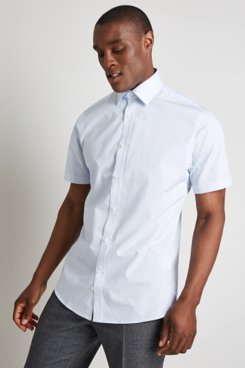 Moss Esq. Regular Fit Sky Short Sleeve Stripe Shirt