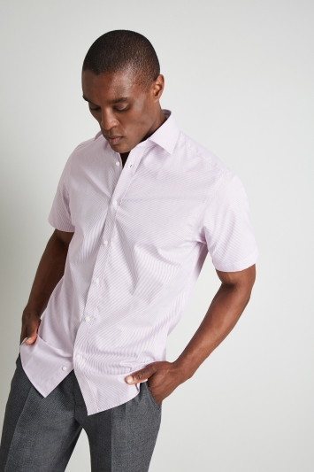 Moss Esq. Regular Fit Pink Short Sleeve Stripe Shirt