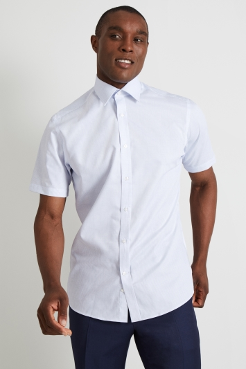 Moss Esq. Regular Fit Sky Short Sleeve Check Shirt