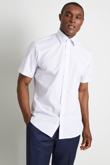 Moss Esq. Regular Fit Lilac Short Sleeve Check Shirt