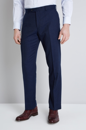 Moss Esq. Regular Fit Navy Milled Stripe Trouser