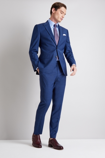 Moss 1851 Performance Tailored Fit Blue Pindot Jacket