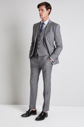 Moss 1851 Tailored Fit Grey Sharkskin Jacket