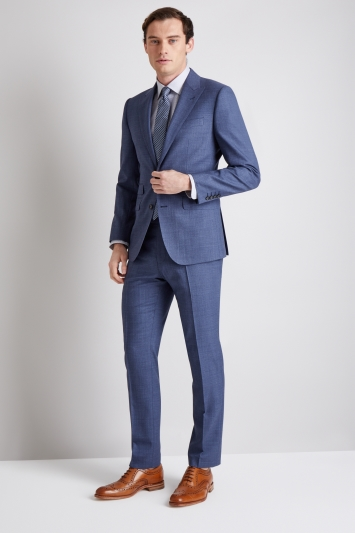 Moss 1851 Tailored Fit Twisted Blue Sharkskin Jacket