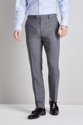 Moss 1851 Tailored Fit Grey with Blue Check Trouser