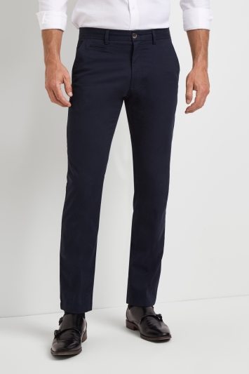 Moss 1851 Tailored Fit Navy Stretch Chino