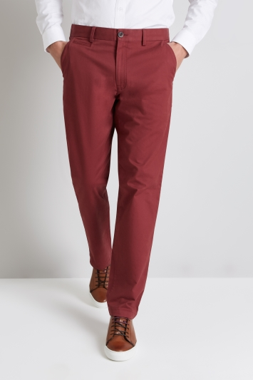 Moss 1851 Tailored Fit Red Stretch Chino