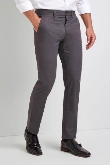 Moss 1851 Tailored Fit Graphite Grey Stretch Chino