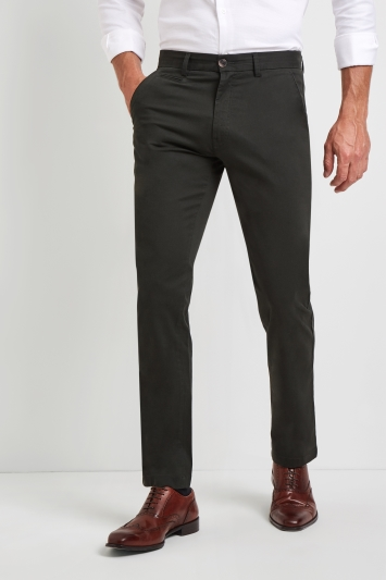 Moss 1851 Tailored Fit Forest Green Stretch Chinos
