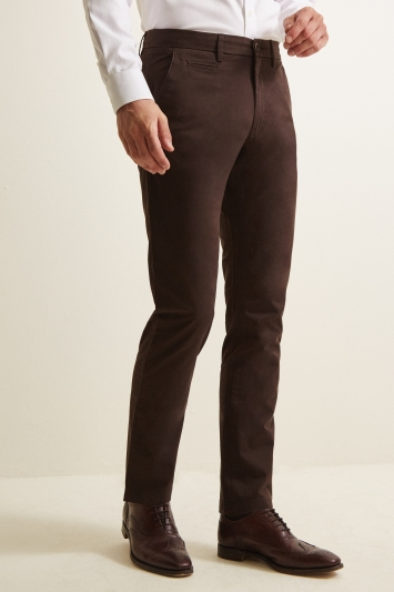 Moss 1851 Tailored Fit Chocolate Brown Stretch Chino