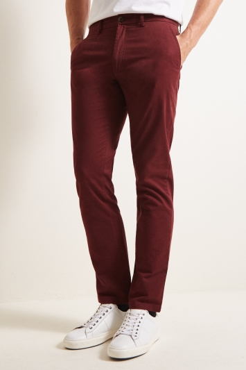 Moss 1851 Tailored Fit Wine Stretch Chino