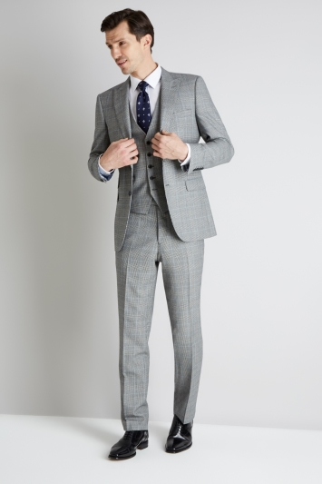 Savoy Taylors Guild Regular Fit Black and White with Blue Check Jacket