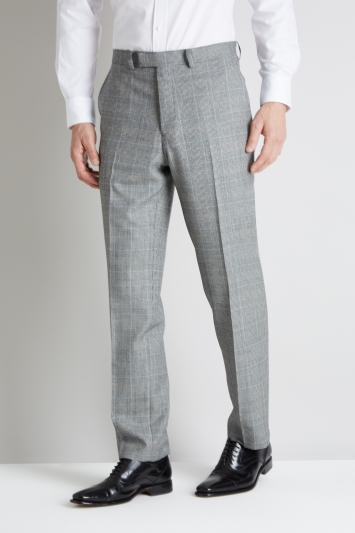 Savoy Taylors Guild Regular Fit Black and White with Blue Check Trouser