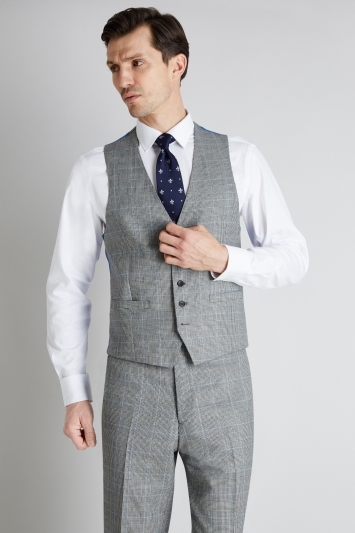 Savoy Taylors Guild Regular Fit Black and White with Blue Check Waistcoat