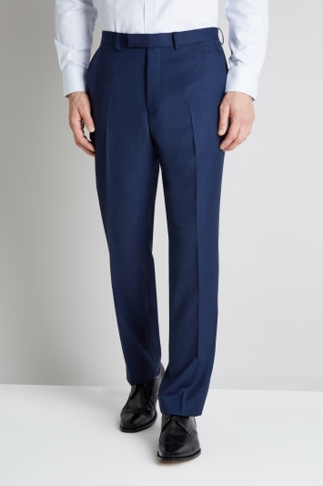 Savoy Taylors Guild Regular Fit Blue Birdseye Trouser
