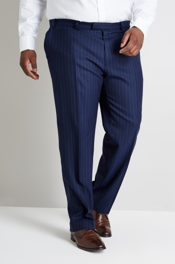 Savoy Taylors Guild Regular Fit Blue Wide Stripe Trouser