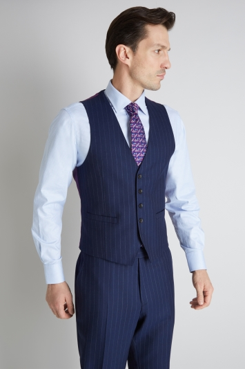 Savoy Taylors Guild Regular Fit Blue Wide Stripe Waistcoat