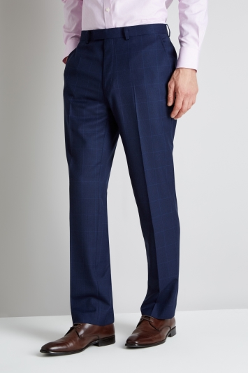 Savoy Taylors Guild Regular Fit Blue Prince of Wales Trouser