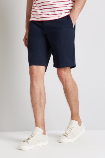 Moss 1851 Tailored Fit Navy Stretch Chino Shorts