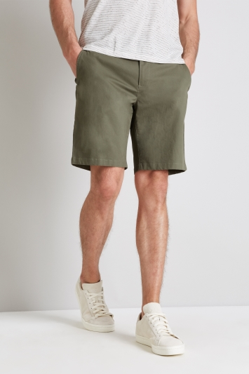 Moss 1851 Tailored Fit Green Stretch Chino Shorts