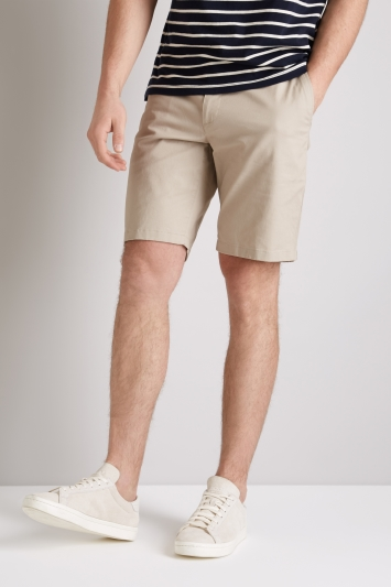 Moss 1851 Tailored Fit Stone Stretch Chino Shorts